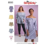 Simplicity Women's Cold Shoulder Shirt And Dress Sewing Pattern, 8550