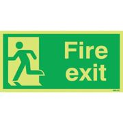 Sitesafe Fire Exit Running Man Left 150X300Mm Photolum S/A