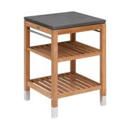 Skagerak - Pantry Module 1 Garden Shelf - anthracite/teak/fibre concrete/WxHxD 63x91.5x60cm/feet polished stainless steel