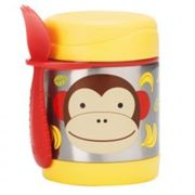 Skip Hop Zoo Insulated Food Jar Marshall Monkey, Brown/red/silver