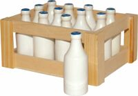 Small Foot crate with 12 glasses of milk