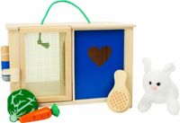 Small Foot plush rabbit in rabbit hutch with accessories