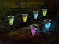Smart Solar Butterfly Silhouette Stake Lights Dual Function LED 6pk