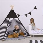 Snuz Kids Teepee Play Tent - Black Stripe Black/White