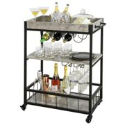 SoBuy® FKW56-HG, 3 Tiers Kitchen Trolley Serving Trolley with Wine Rack