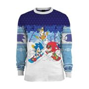 Sonic the Hedgehog Skiing Christmas Jumper / Ugly Sweater UK XL / US L