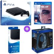 Sony PlayStation 4 500GB Console Black with Vertical Stand PRO4 70 Midnight Ca Headset and Detroit Become Human PS4)