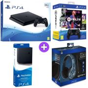 Sony PlayStation 4 500GB Console Black with Vertical Stand PRO4 70 Midnight Ca Headset and FIFA 21 DualShock 4 Controller Bundle PS4)