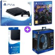 Sony PlayStation 4 500GB Console Black with Vertical Stand PRO4 70 Midnight Ca Headset and Medievil PS4)