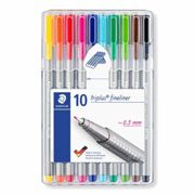Staedtler Triplus Fineliner Pen Pack of 10, Assorted