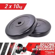 STANDART WEIGHT PLATES 2x 10 kg DISCS HOME GYM LIFTING DUMBBELL