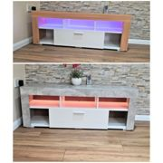 Stone Grey LED TV Cabinets, High Gloss Door With RGB Led Lights Storage For Living Room