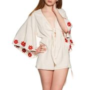 Sundress Justyn Women's Playsuit - Coconut Red Daisies Embroideries female