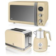 Swan Cream Digital Microwave, Retro Kettle with Temperature Dial & 2 Slice Toaster