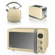 Swan Cream Retro Digital 20 Litre Microwave, 1.7 Litre Dome Kettle & 2 Slice Toaster