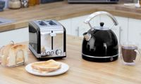 Swan Retro Kettle and Toaster Set: Two-Slice/Black
