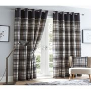 Tartan Checked Grey Eyelet Curtains Fully Lined Ready Made Ring Top 66 x 90""