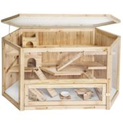tectake Hamster cage made of wood 115x60x58cm - gerbil cage, hamster house, wooden hamster cage - brown