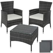 tectake Rattan garden furniture set Lucerne - garden tables and chairs, garden furniture set, outdoor table and chairs - grey