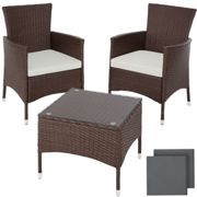 tectake Rattan garden furniture set Lucerne - garden tables and chairs, garden furniture set, outdoor table and chairs - mixed brown