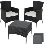 tectake Rattan garden furniture set Lucerne - garden tables and chairs, garden furniture set, outdoor table and chairs - black