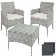 tectake Rattan garden furniture set Lucerne - garden tables and chairs, garden furniture set, outdoor table and chairs - light grey