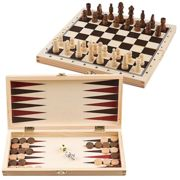 The Magic Toy Shop 3 in 1 Wooden Board Game Set Compendium Travel Games Chess Draughts Backgammon