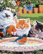 Three Kittens Birds Water Fountain Cat Kitty Pet Animal, 1pc Cat Kitty Pet Animal Acrylic Diy Painting By Number Hobby Kit Home Wall Picture