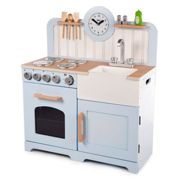 Tidlo Wooden Country Play Kitchen - Blue | Wooden Toy Kitchen