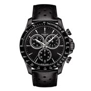 Tissot T1064173605100 Men's V8 Chronograph Date Leather Strap Watch, Black