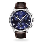 Tissot T1166171604700 Men's Classic Chronograph Date Leather Strap Watch, Brown/Blue