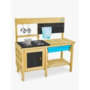 TP Toys Deluxe Wooden Mud Play Kitchen With Refillable Water Butt and Tap 4 Painted Hobs Blackboard Opening Oven Door Suitable For 3 Years +