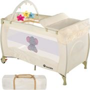 Travel cot elephant with changing mat and play bar - beige