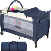 Travel cot elephant with changing mat and play bar blue