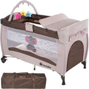 Travel cot elephant with changing mat and play bar brown
