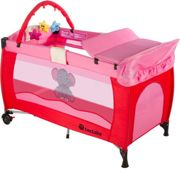 Travel cot elephant with changing mat and play bar - pink