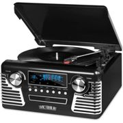Victrola 50's Retro Bluetooth Record Player & Multimedia Center with Built-in Speakers - 3-Speed Turntable, CD Player, AM/FM Radio | Black