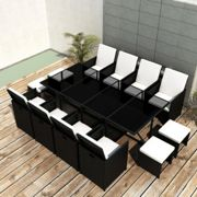 vidaXL 13 Piece Outdoor Dining Set with Cushions Poly Rattan Black