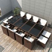 13 Piece Outdoor Dining Set with Cushions Poly Rattan Brown