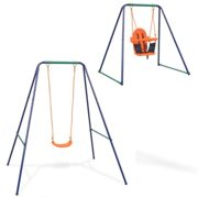 vidaXL 2-in-1 Single Swing and Toddler Swing Orange with Baby Safety Seat