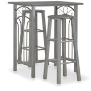 vidaXL 3 Piece Bar Set Wood and Steel Anthracite