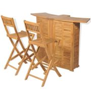 vidaXL 3 Piece Bistro Set with Folding Chairs Solid Teak Wood