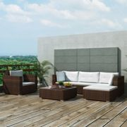 6 Piece Garden Lounge Set with Cushions Poly Rattan Brown
