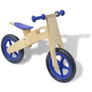 vidaXL Balance Bike Wood Blue Children First Training Riding Cycle Bicycle