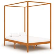 vidaXL Solid Pine Wood Canopy Bed Frame Honey Brown 140x200cm Double Beds