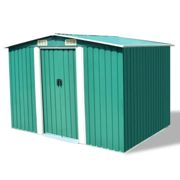 vidaXL Garden Storage Shed Green Metal 257x205x178 cm