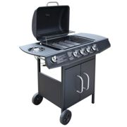 Gas Barbecue Grill 4+1 Cooking Zone Black