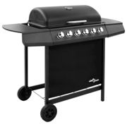 vidaXL Gas BBQ Grill with 6 Burners Black Natural Gas Barbecue Side Burner