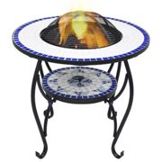 vidaXL Mosaic Fire Pit Table Blue and White Ceramic Barbecue BBQ Fireplace