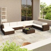 vidaXL Outdoor Lounge Set 24 Pieces Brown Poly Rattan Garden Patio Sofa Seat